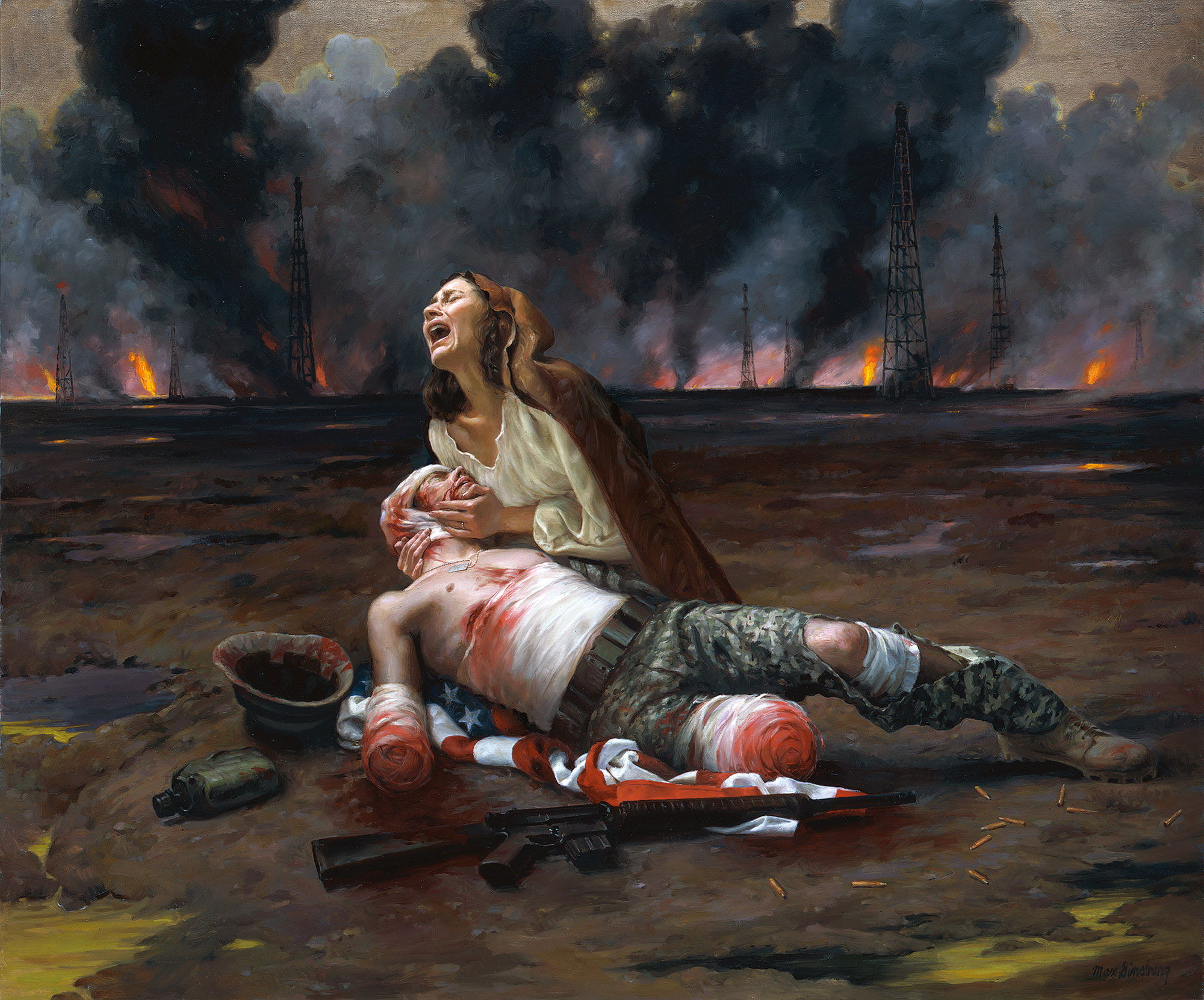 Famous Sad Paintings   ArtPaintingArtist War Pieta by Max Ginsburg