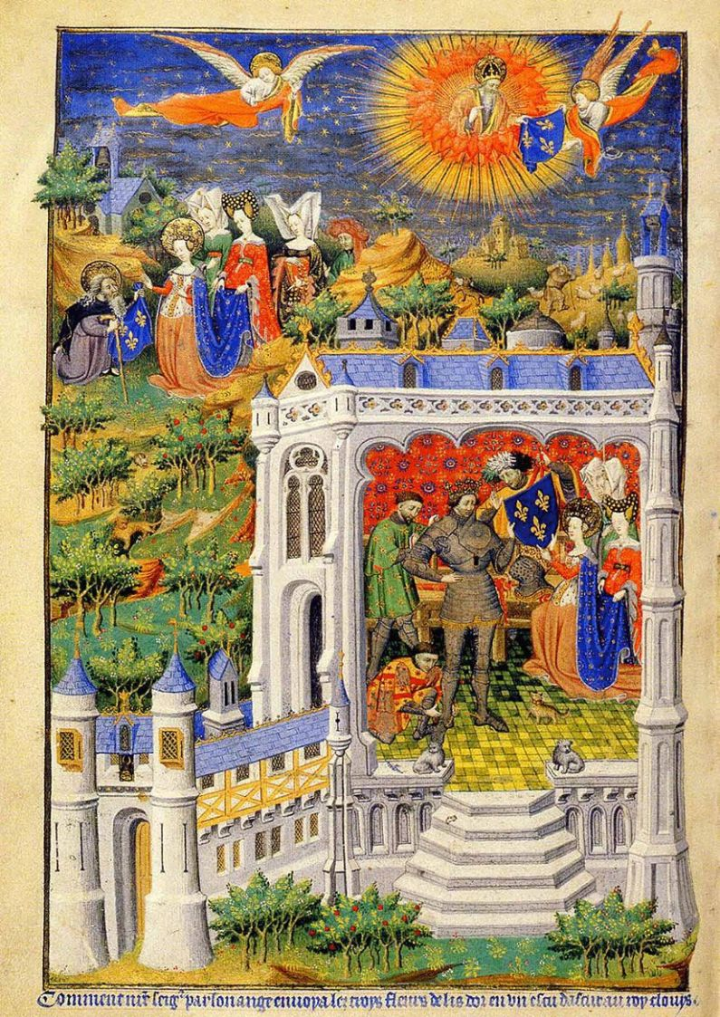 Angel sending the Fluers de lis to Clovis, an Illuminated Manuscript