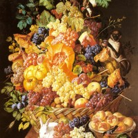 A Basket of Fruit with Animals by Leopold Zinnogger