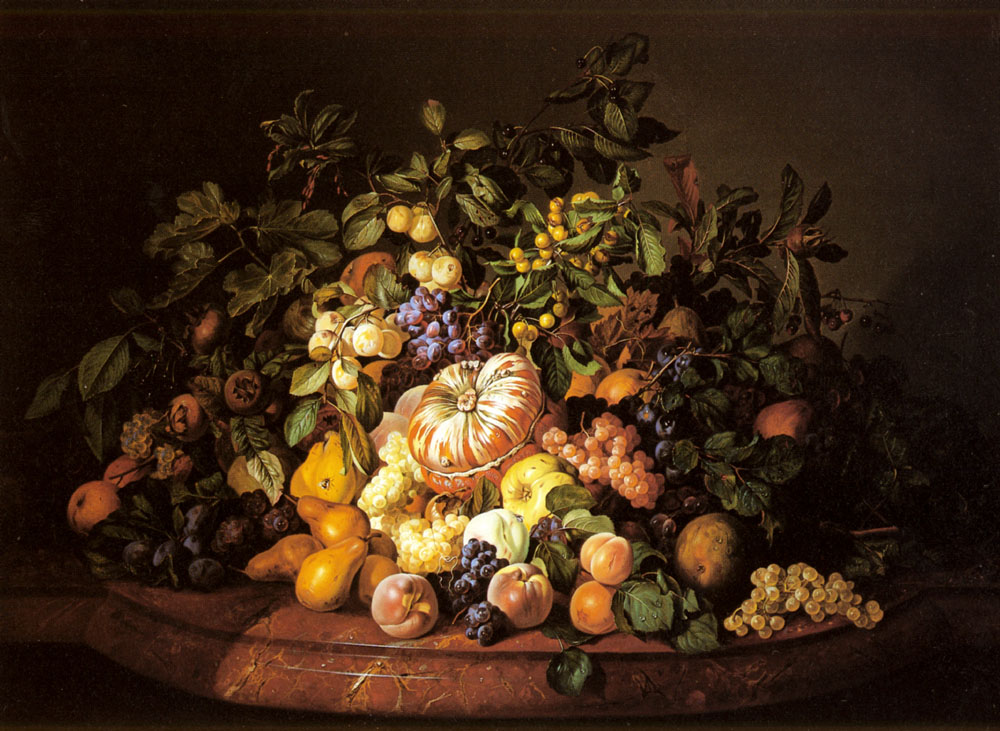 A Still Life of Fruit on a Marble Ledge by Leopold Zinnogger