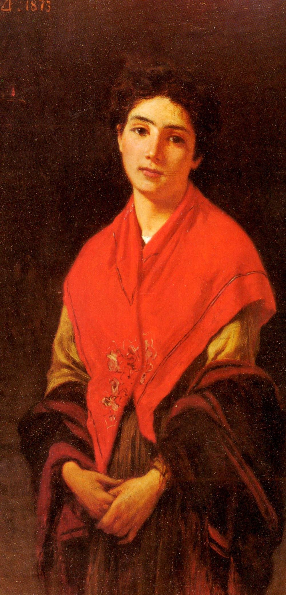 Donna In Rossa by Federigo Zandomeneghi
