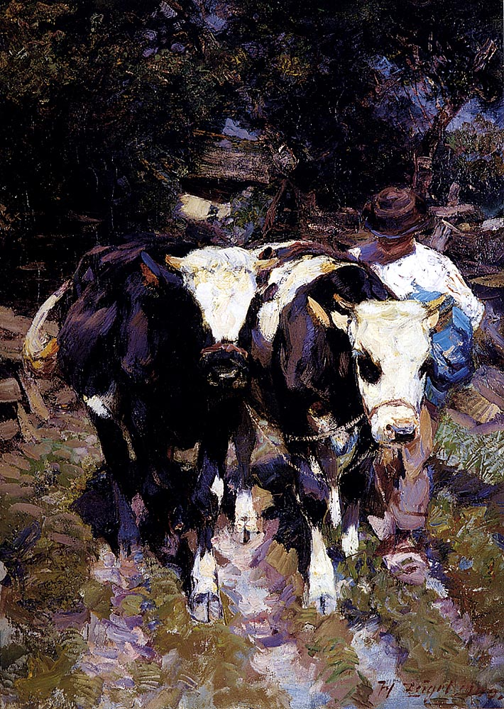 Two Harnessed Calves by Heirich von Zugel