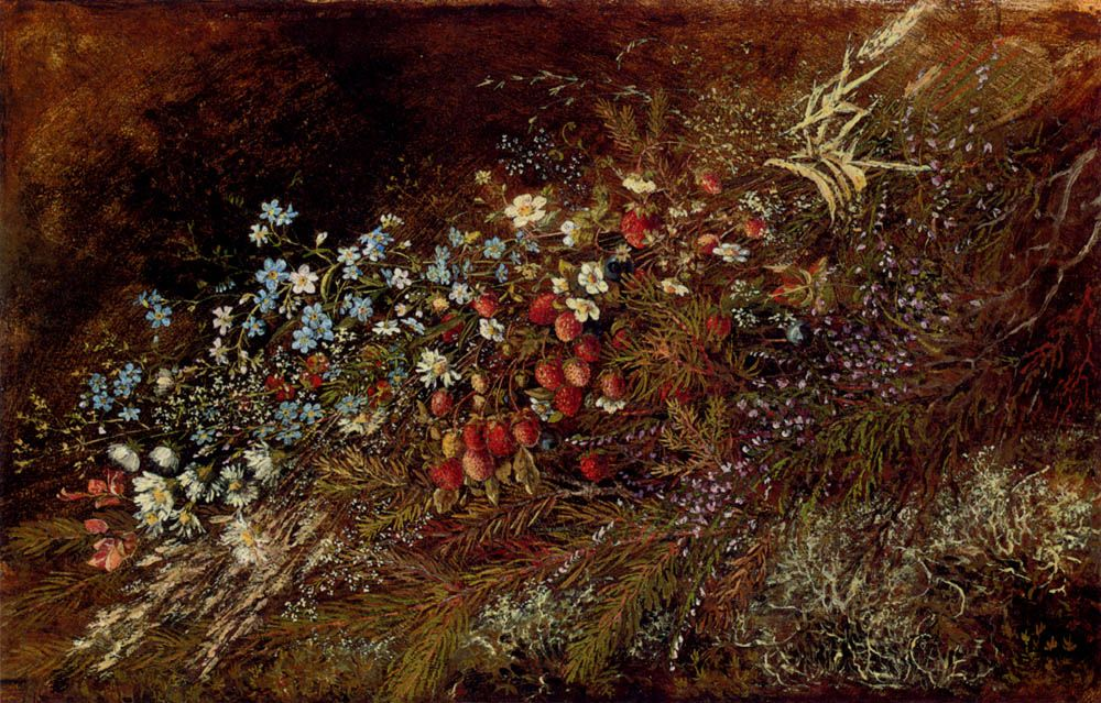 A Bouquet of Summer Fruits and Fowers on a Mossy Bank by Olga Wisinger Florian