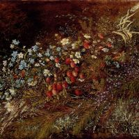 A Bouquet of Summer Fruits and Fowers on a Mossy Bank by Olga Wisinger-Florian