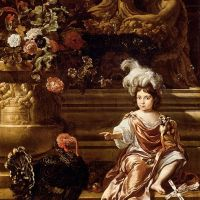 A Boy Seated On A Terrace With His Pet Monkey And a Turkey, A Still Life Of Flowers In A Sculpted Urn At Left by Jan Weenix