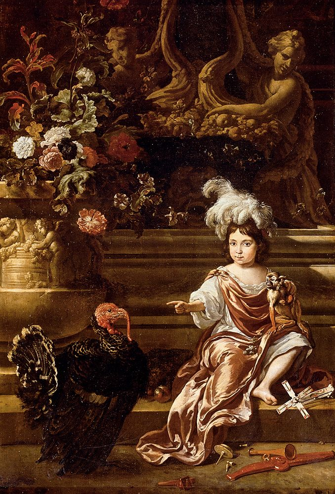 A Boy Seated On A Terrace With His Pet Monkey And a Turkey A Still Life Of Flowers In A Sculpted Urn At Left by Jan Weenix