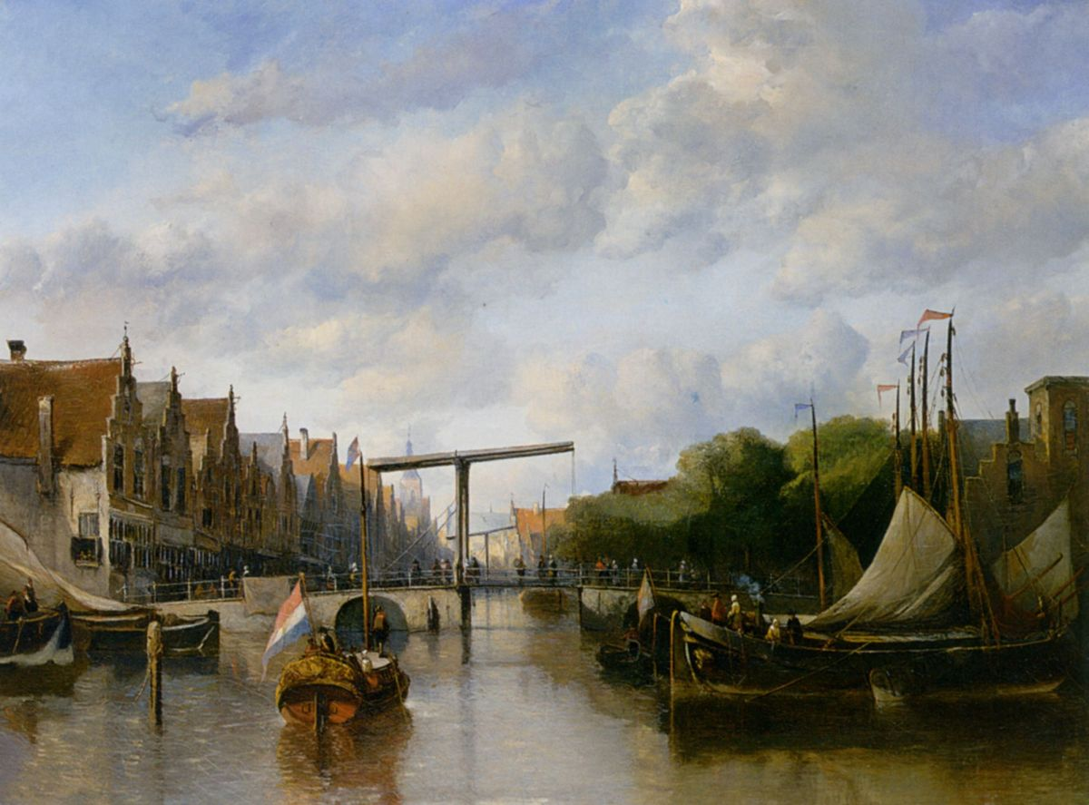 A Busy Canal in a Dutch Town by Antonie Waldorp
