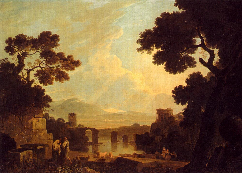A Capriccio Landscape With The Temple Of The Sibyl At Tivoli And The Broken Bridge At Narni by Richard Wilson