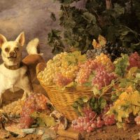 A Dog By A Basket Of Grapes In A Landscape by Ferdinand Georg Waldmuller