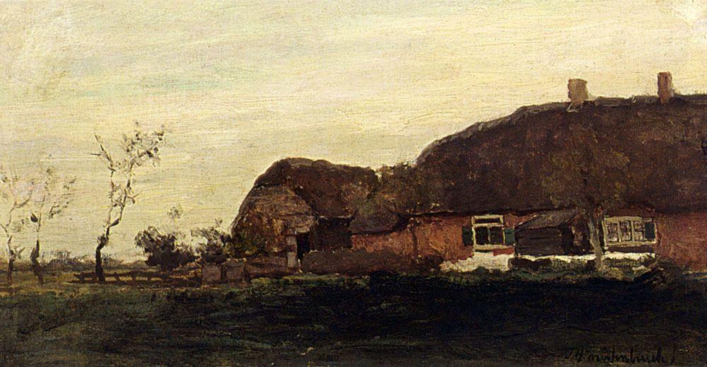 A Farmhouse In A Polder Landscape by Jan Hendrik Weissenbruch