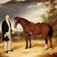 A Gentleman Holding a Chestnut Hunter in a Wooded Landscape by William Webb