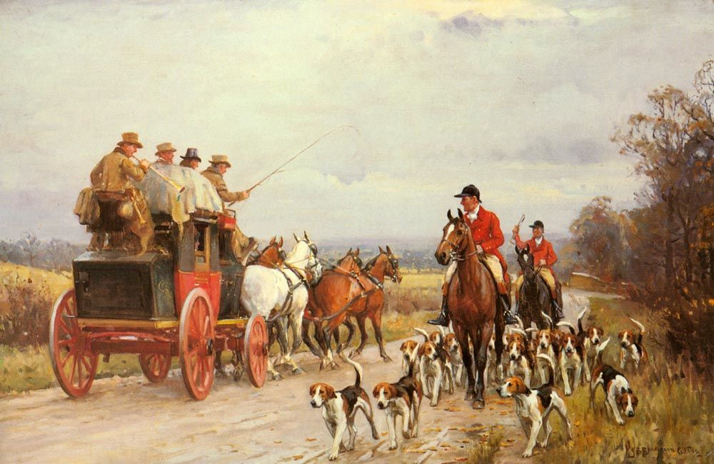 A Hunt Passing a Coach by John Sanderson Wells