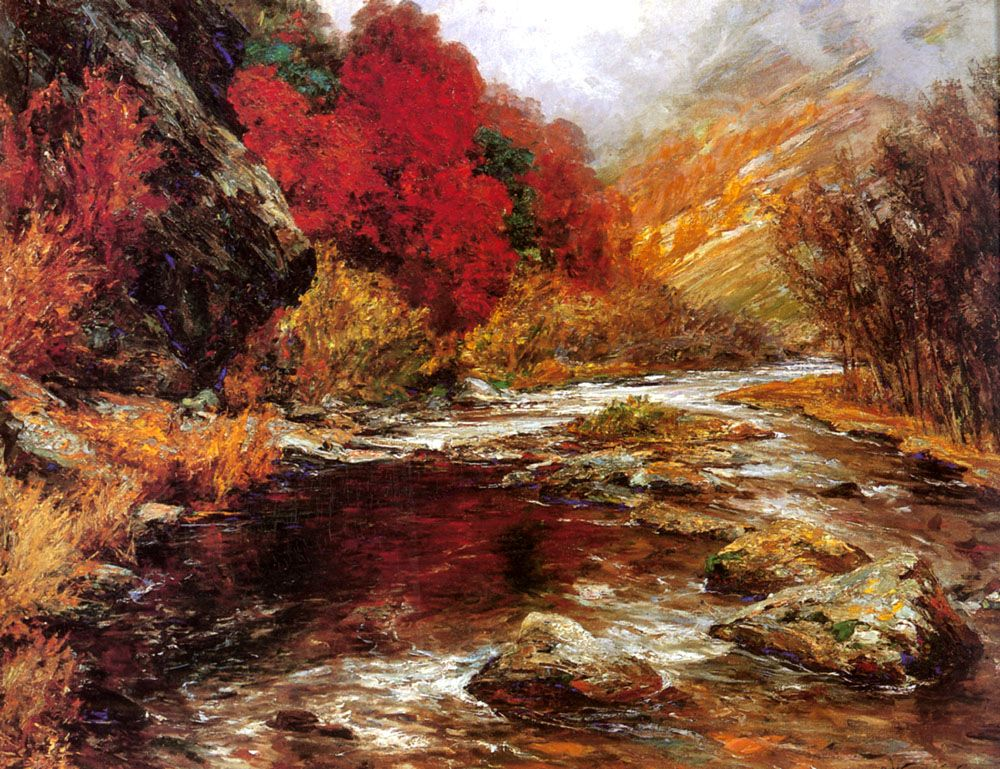 A River in an Autumnal Landscape by Olga Wisinger Florian
