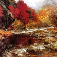 A River in an Autumnal Landscape by Olga Wisinger-Florian