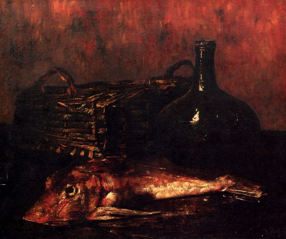 A Still Life With A Fish A Bottle And A Wicker Basket by Antoine Vollon