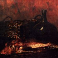 A Still Life With A Fish, A Bottle And A Wicker Basket by Antoine Vollon