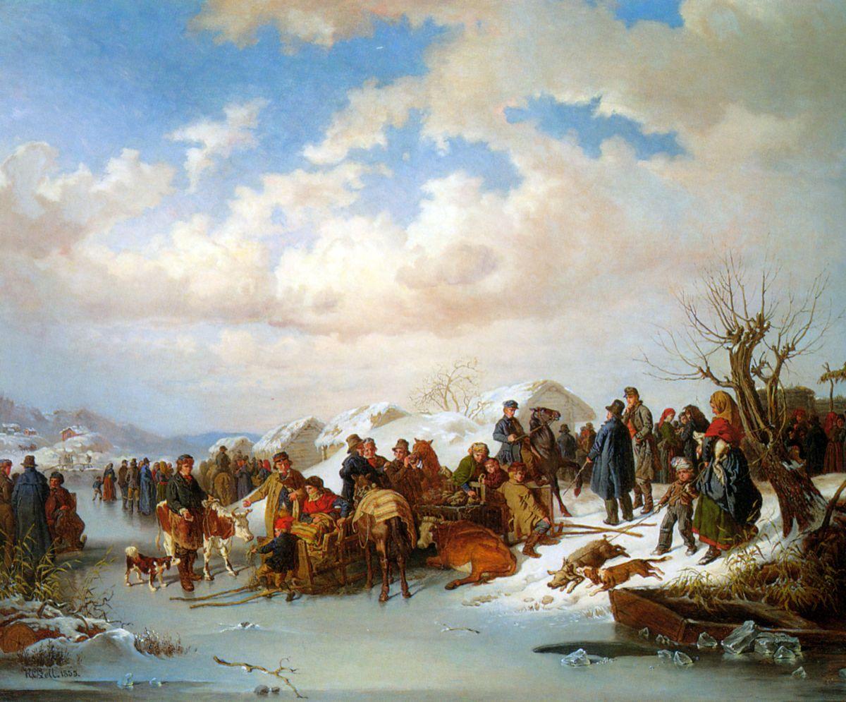 A Village Gathering along a Frozen River by Kilian Christoffer Zoll