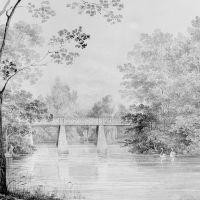 Bridge over Crumelbow Creek, David Hosack Estate, Hyde Park, New York (from Hosack Album) by Thomas Kelah Wharton