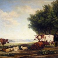 Cattle and Sheep in a River Landscape by Henry Brittan Willis