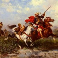 Combats De Cavaliers Arabes by Georges Washington