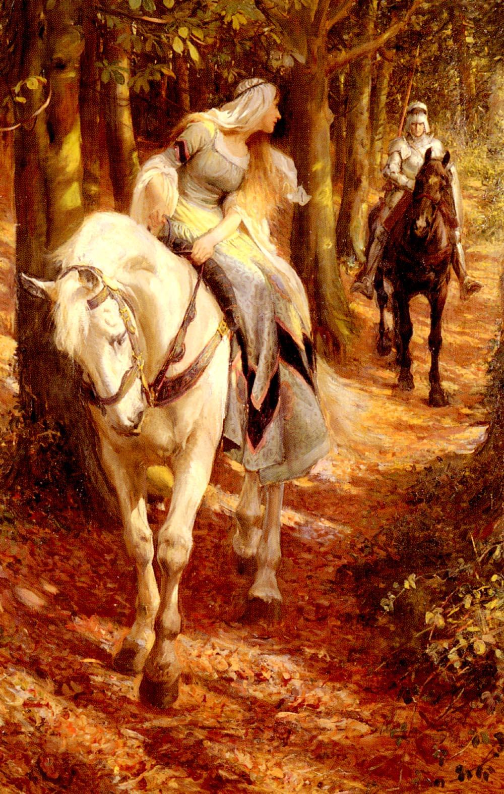 Enid and Geraint by Rowland Wheelwright R B A