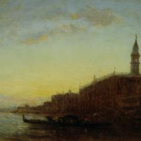 Gondole quittant le quai des Escvalons Venise by Felix Ziem