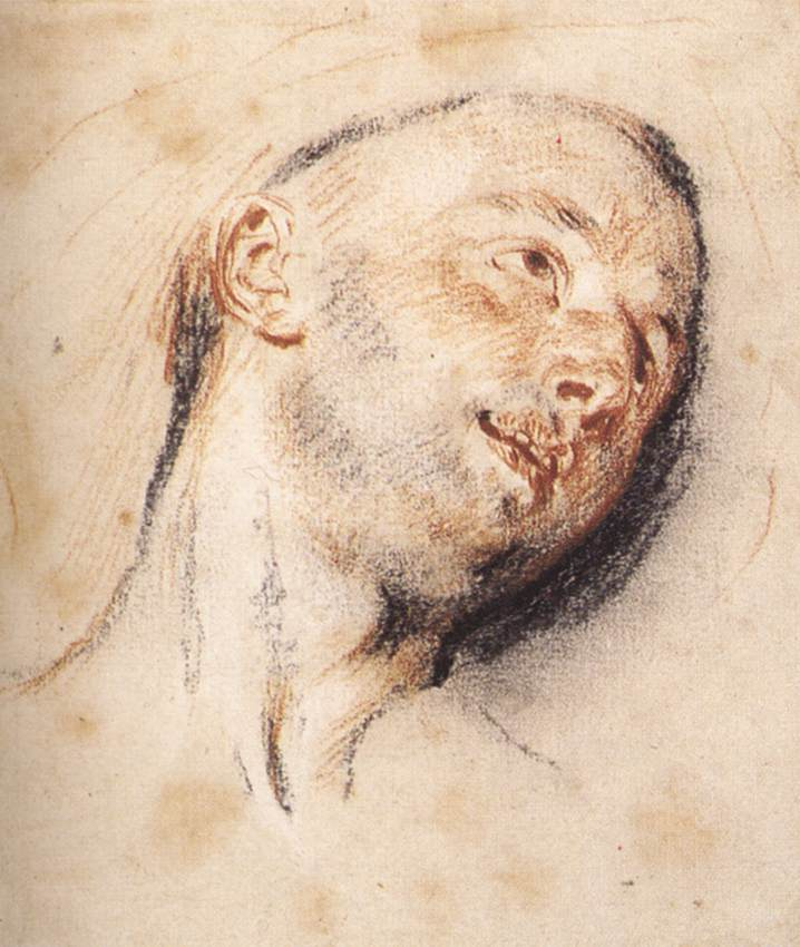 Head of a Man by Jean Antoine Watteau
