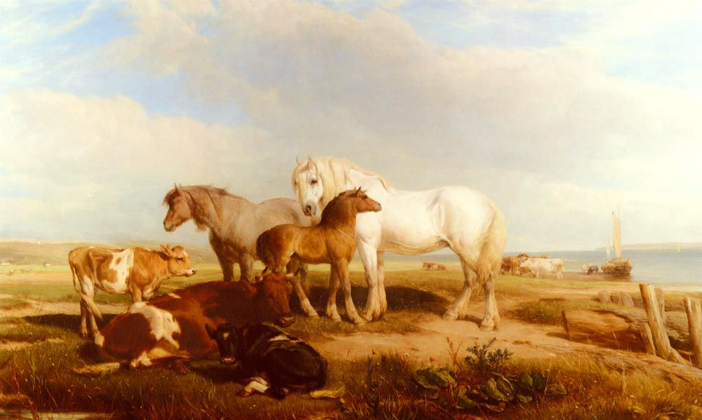 Horses And Cattle On The Shore by Henry Brittan Willis R W S