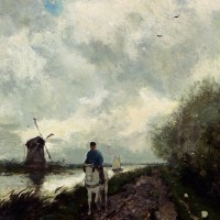On The Tow Path Along The River Amstel by Jan Hendrik Weissenbruch