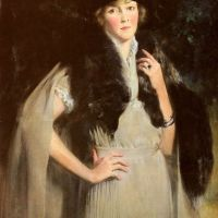 Portrait Of Mrs. Edward W. Redfield by Irving Ramsay Wiles