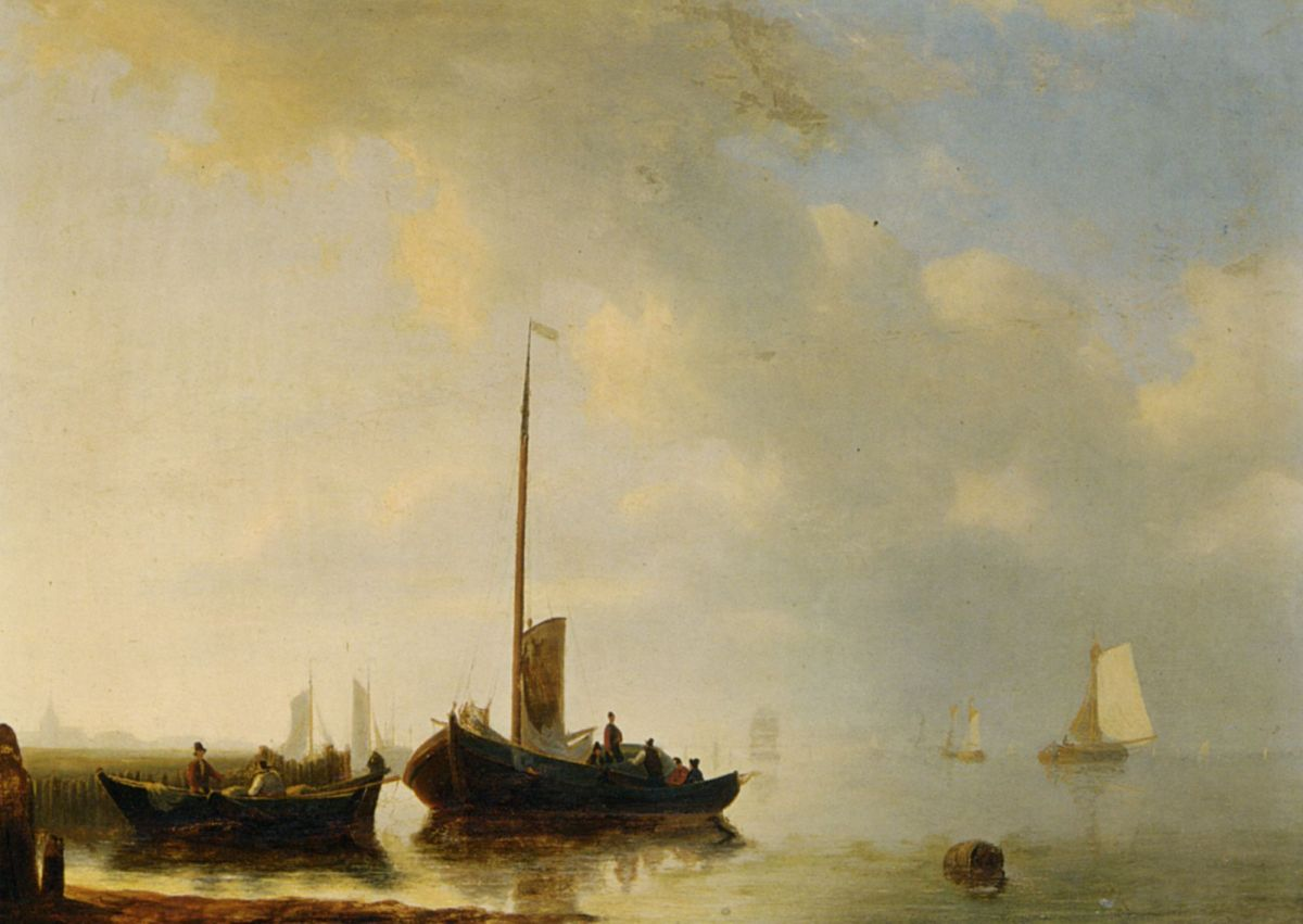 Sailing vessels off the Dutch coast by Antonie Waldorp