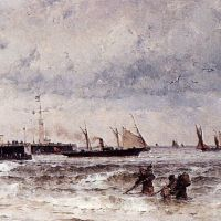 Shipping Near A Harbour Entrance by Theodor Alexander Weber