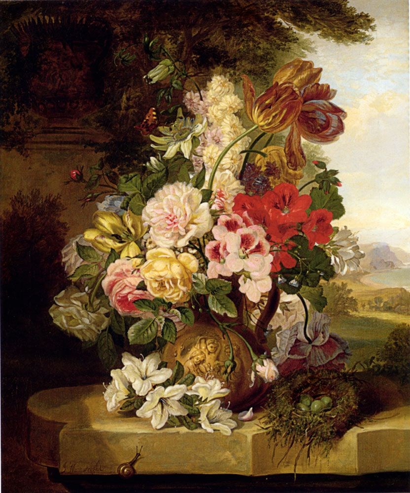 Still Life With Tulips Roses Passion Flowers And A Butterfly by John Wainwright