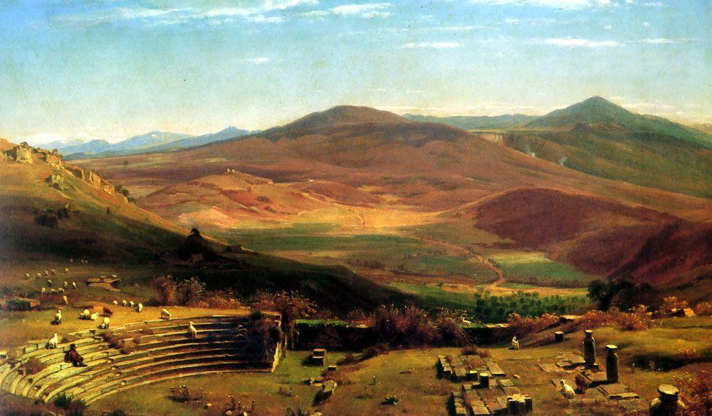 The Amphitheatre of Tusculum and Albano Mountains Rome by Thomas Worthington Whittredge
