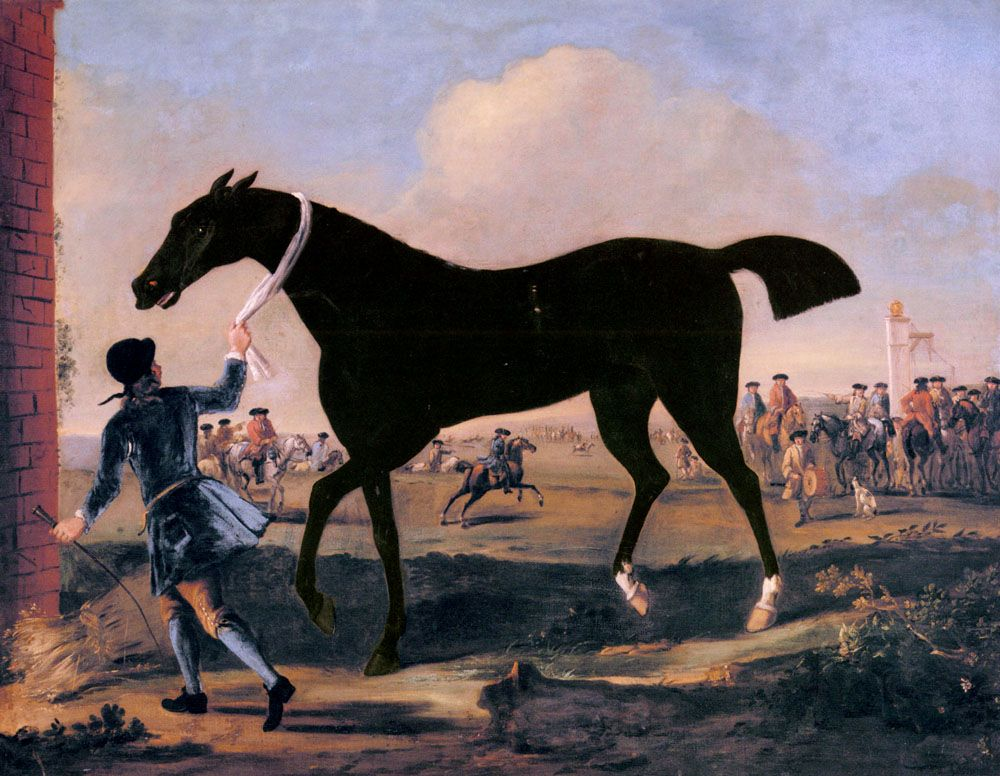 The Duke Of Rutland s Bonny Black Held By A Groom At Newmarket by John Wootton