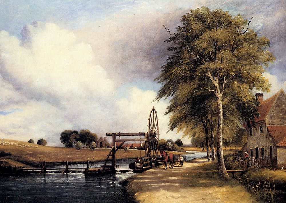 The Lock At Stanton On The Little Ouse In Norfolk by Frederick William Watts
