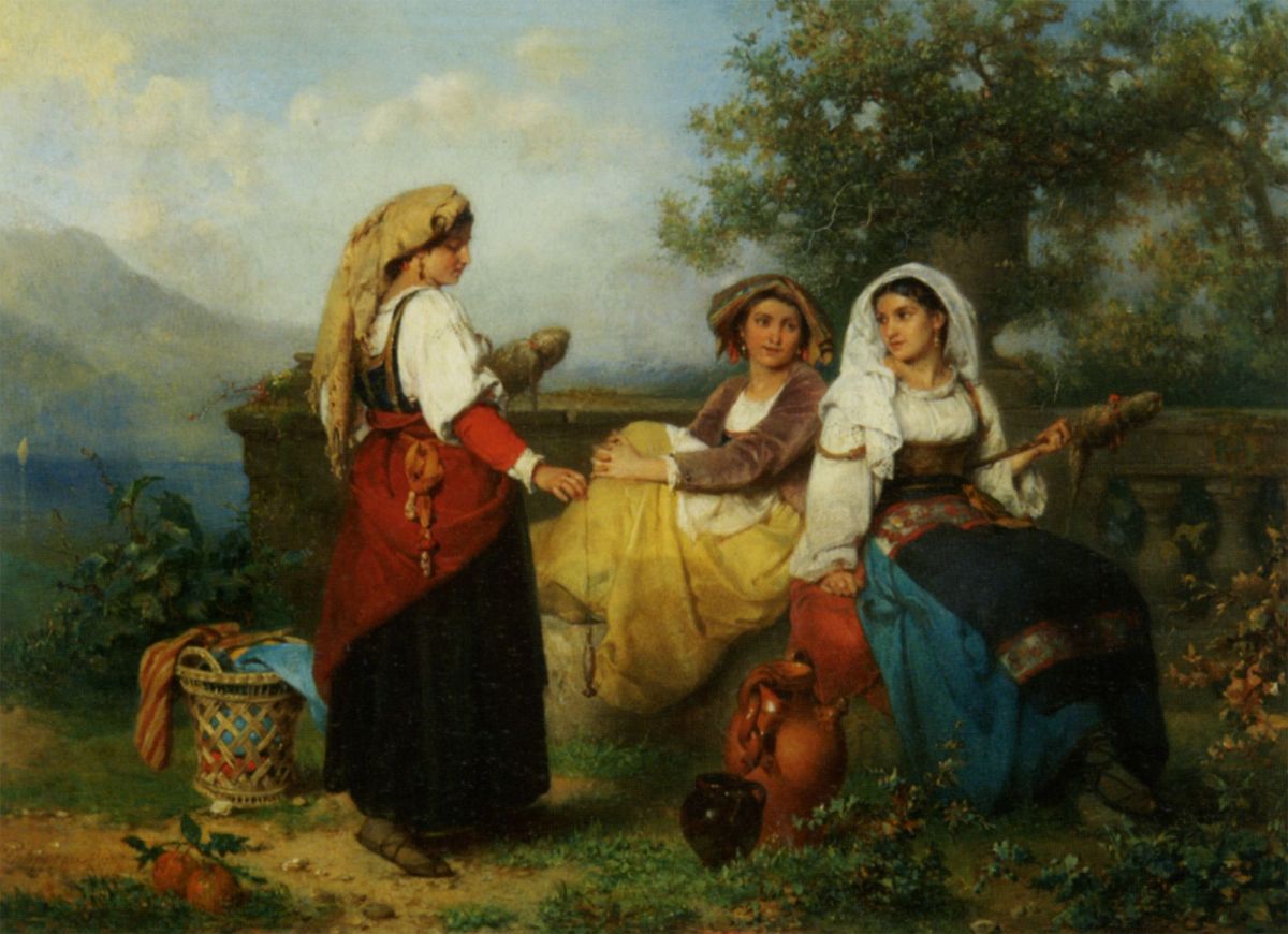 Three-Young-Maidens-Spinning-Wool-by-Karel-Frans-Philippeau