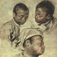 Three studies of a boy by Jean Antoine Watteau