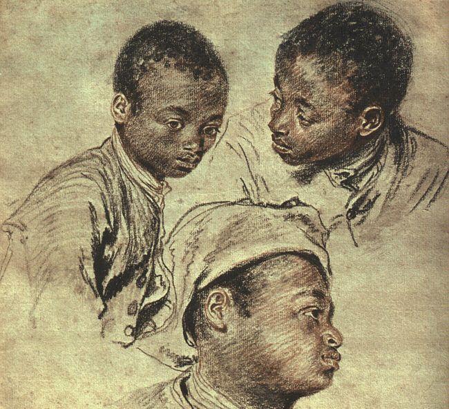 Three studies of a boy by Jean Antoine Watteau