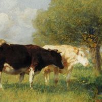 Two Cows in a Meadow by Heirich von Zugel