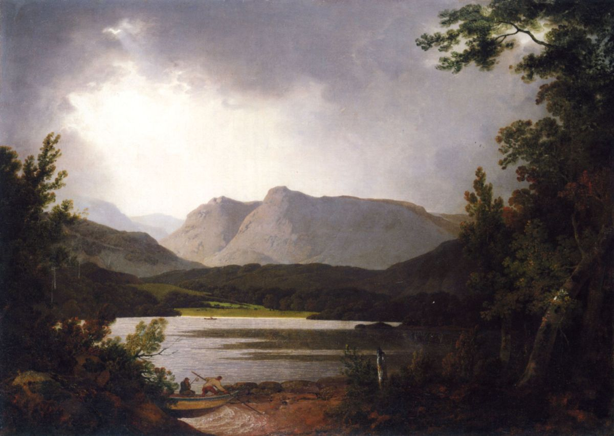 View of Lake Windemere with Langdale Pikes by Joseph Wright of Derby