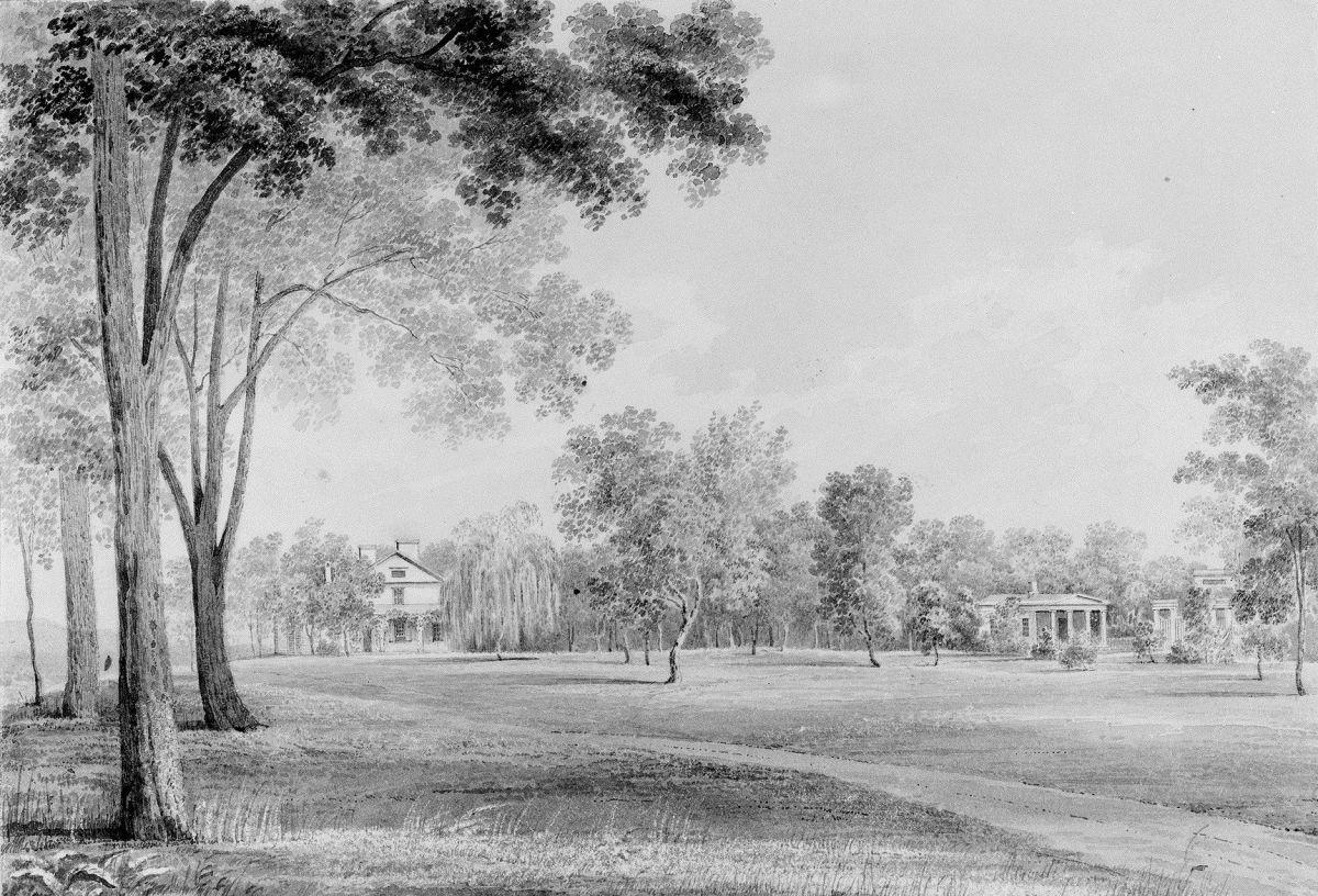 View of the David Hosack Estate Hyde Park New York from the South from Hosack Album by Thomas Kelah Wharton