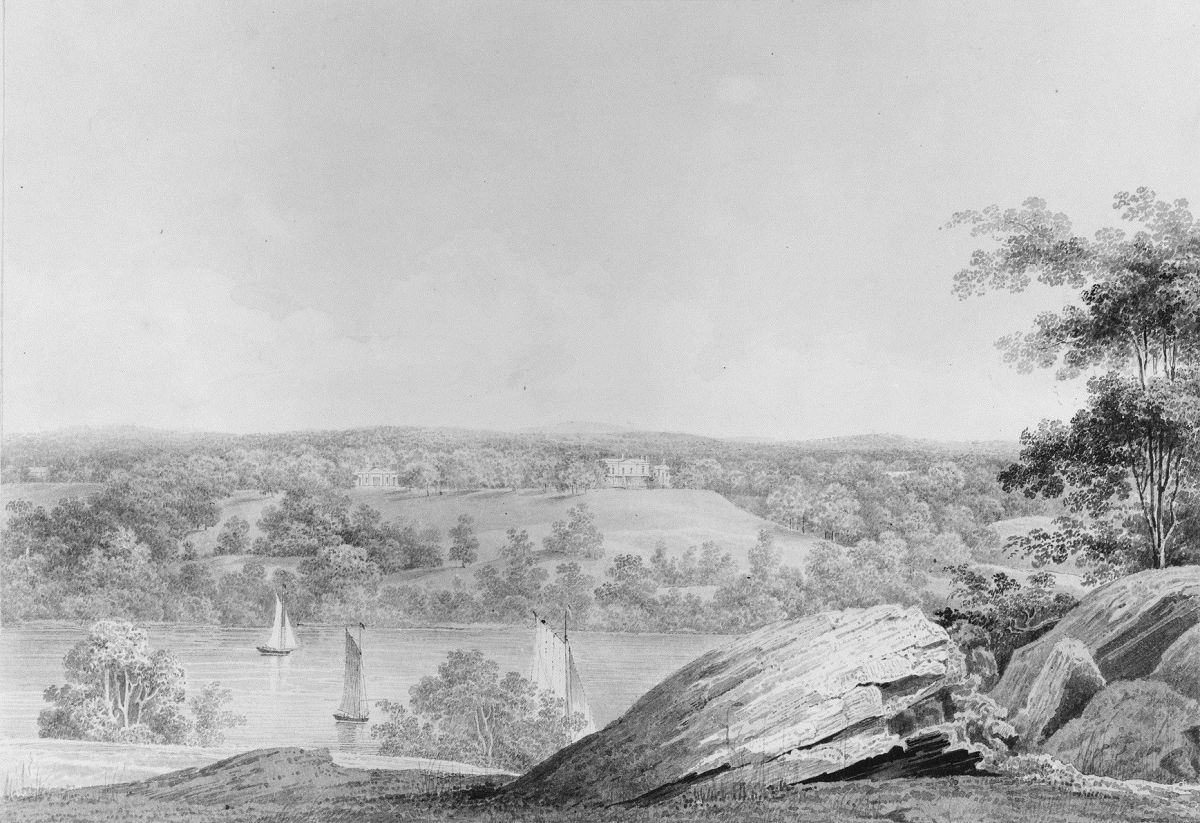 View of the David Hosack Estate at Hyde Park New York from Western Bank of the Hudson River from Hosack Album by Thomas Kelah Wharton