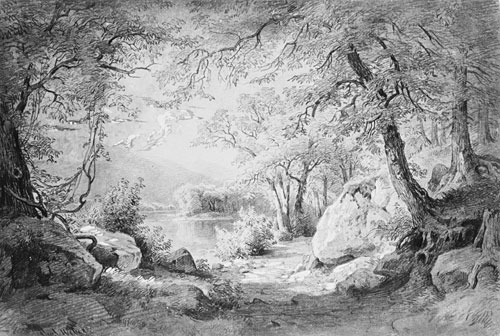 Wooded Landscape with Lake and Mountains from the Cropsey Album by Paul Webber