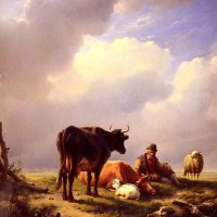 A Farmer At Rest With His Stock by Eugene Verboeckhoven