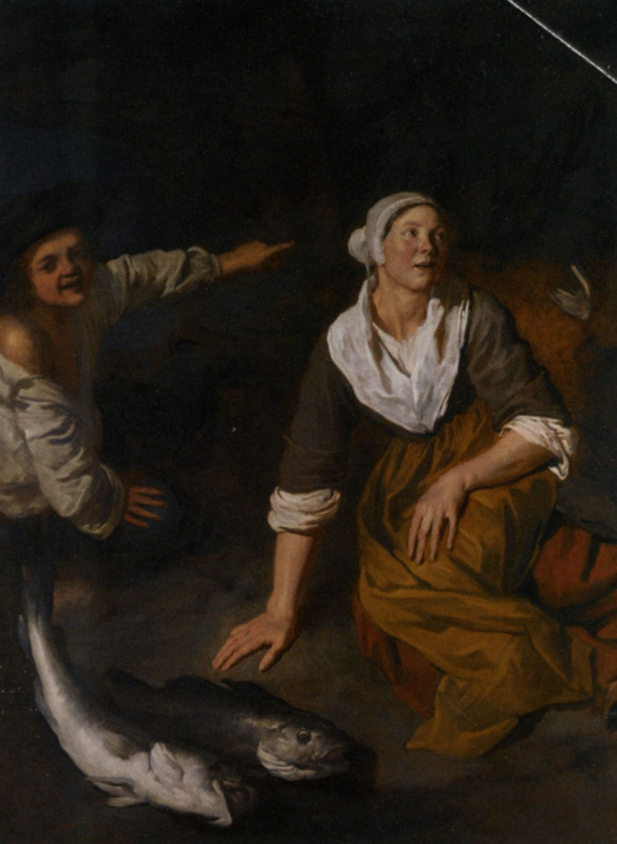 A Fishwife and Boy with their Catch by Jan van Pee