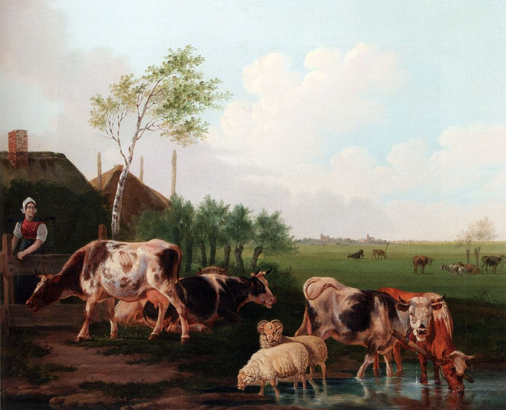 A Summer Landscape With Cows And Sheep By A Pool And A Milkmaid Watching by Albertus Verhoesen