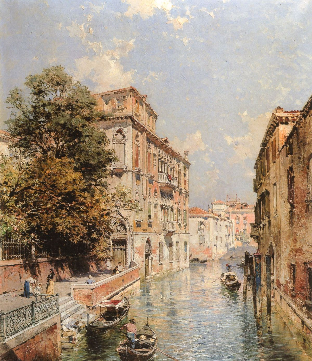 A View in Venice Rio S Marina by Franz Richard Unterberger