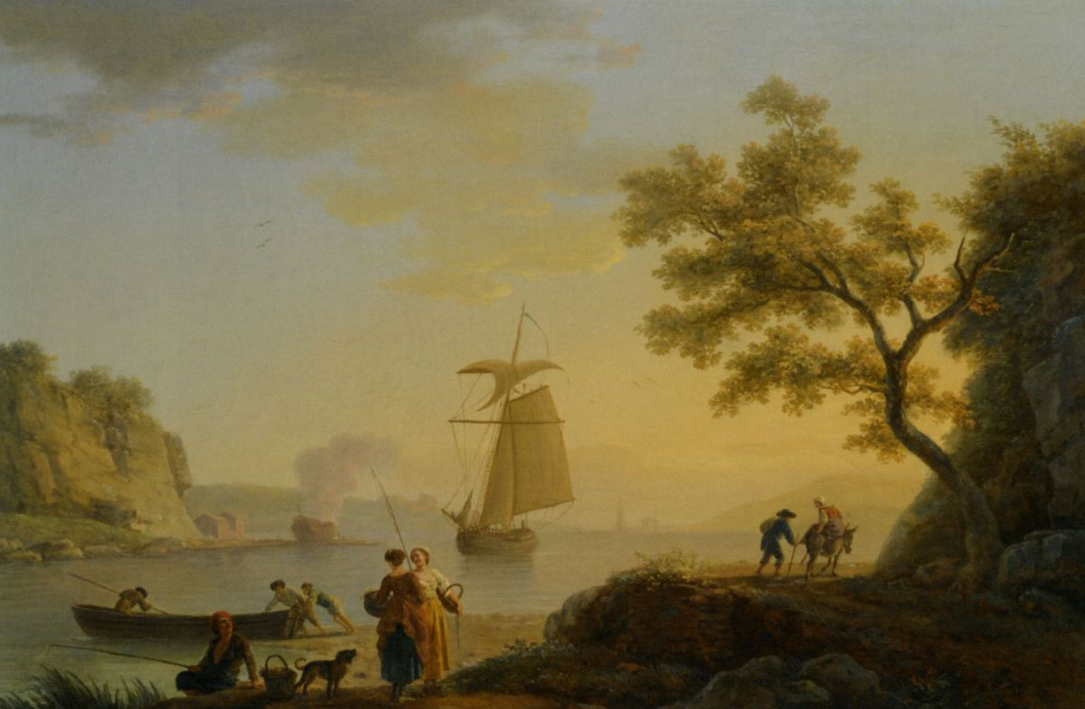 An Extensive Coastal Landscape with Fishermen Unloading their Boats and Figures Conversing in the Foreground by Claude Joseph Vernet