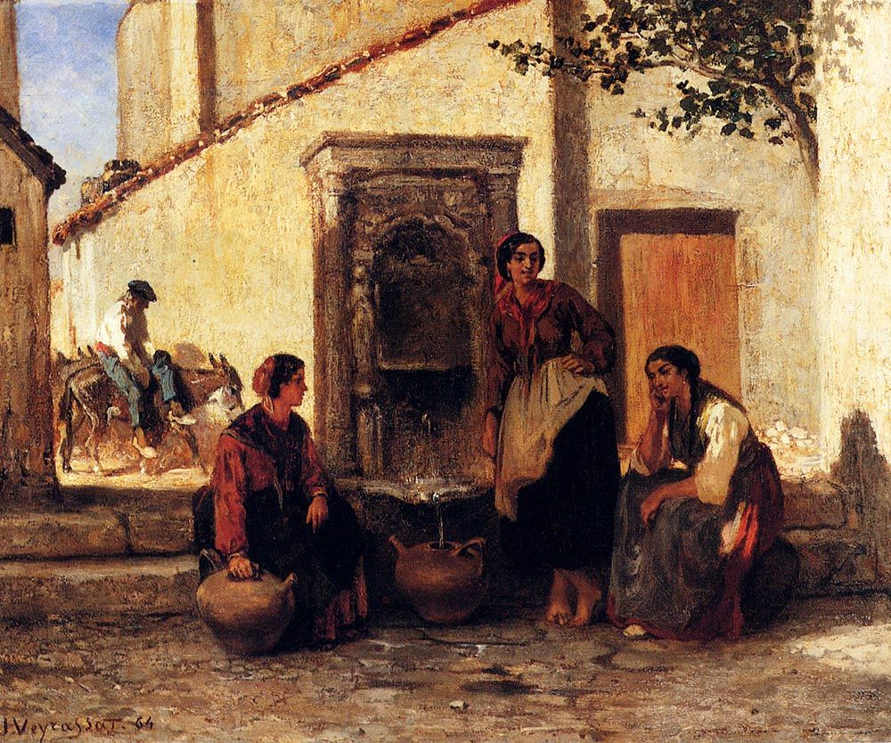 At The Fountain by Jules Jacques Veyrassat
